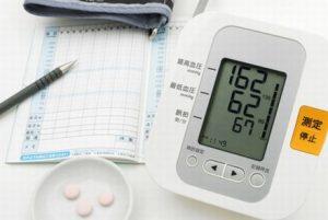 血圧計と管理表と錠剤