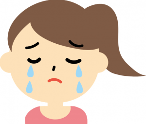 不安で泣くママ