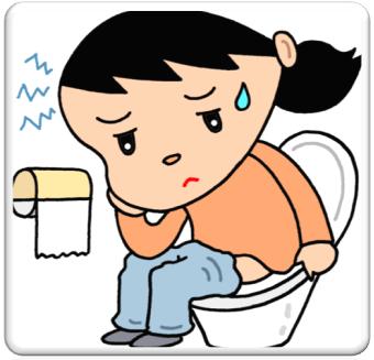 トイレにこもり苦しそうな女性