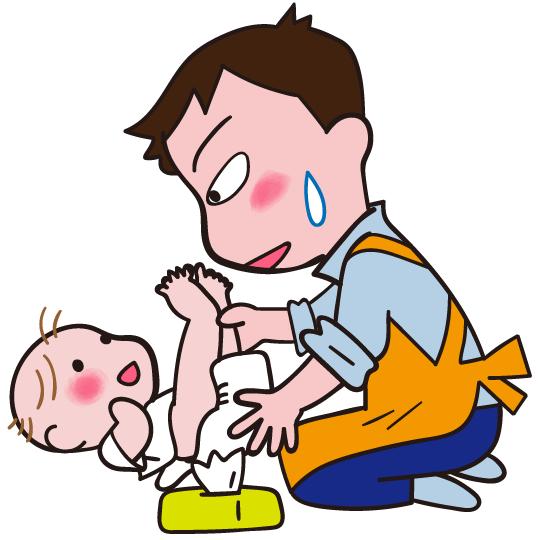 赤ちゃんのおむつ替えをしているパパ