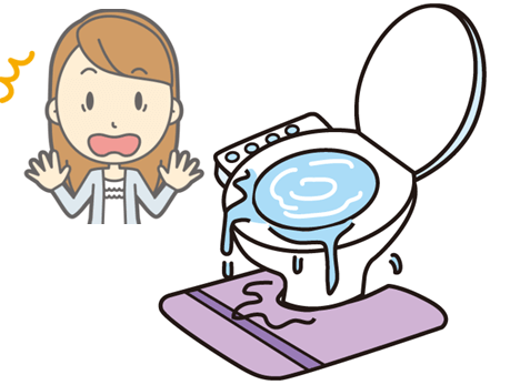 トイレの水が溢れて驚くママ