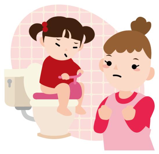 トイトレ中の女の子とママ