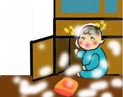 子供の小麦粉をまき散らす遊び
